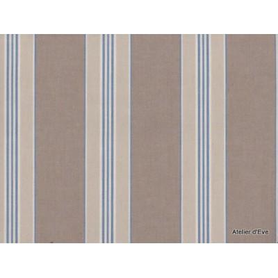 Biarritz Tissu ameublement 100% coton rayures L140cm bleu A201.bleu