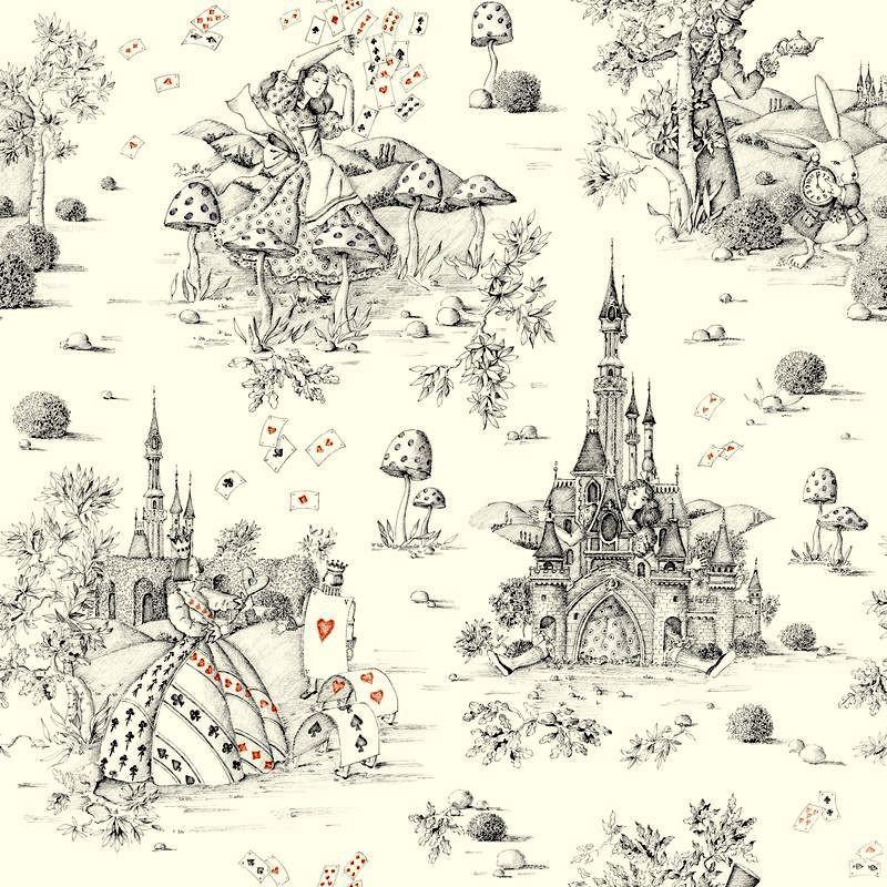 Au pays des Merveilles (2 coloris) Tissu ameublement toile de jouy grande largeur Thevenon le metre