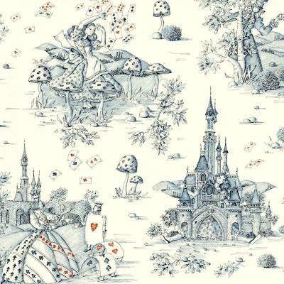 Au pays des Merveilles (2 coloris) Rouleau tissu ameublement toile de jouy grande largeur Thevenon La pièce ou demi-pièce