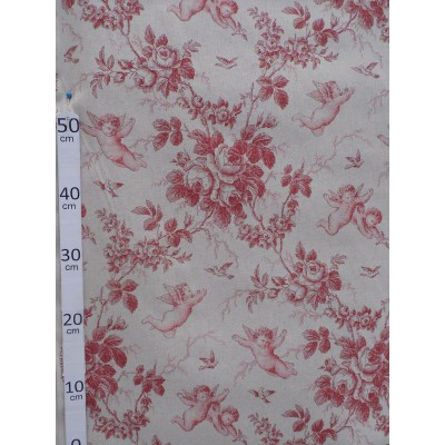 """Angel of Jouy"" red jouy fabric great width"