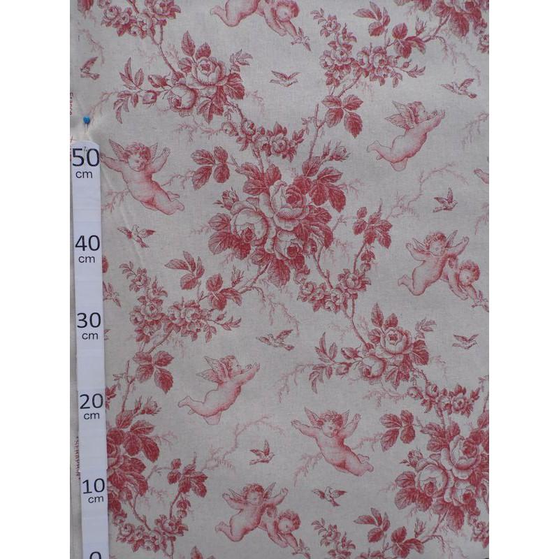 Ange de Jouy Toile de jouy Tissu ameublement coton/lin rouge L.280cm A699-3279 le metre