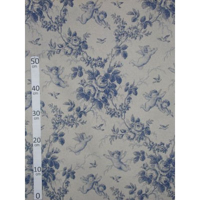 """Angel of Jouy"" blue Canvas of jouy wide"