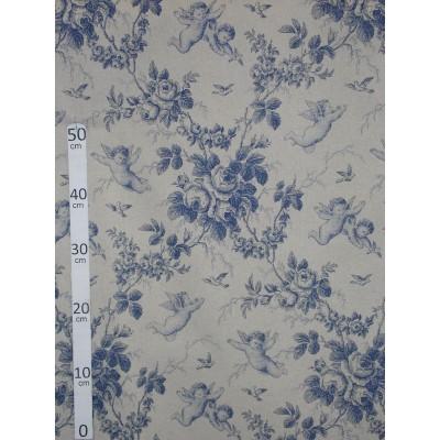 Ange de Jouy Toile de jouy Tissu ameublement coton/lin bleu