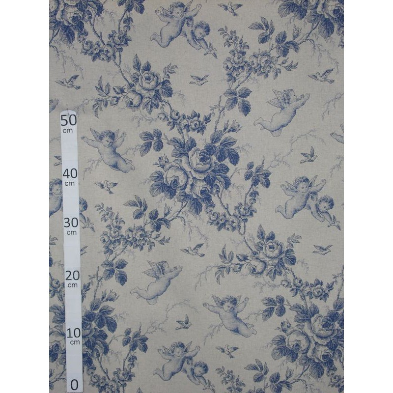 Ange de Jouy Toile de jouy Tissu ameublement coton/lin bleu L.280cm A699-3278 le metre