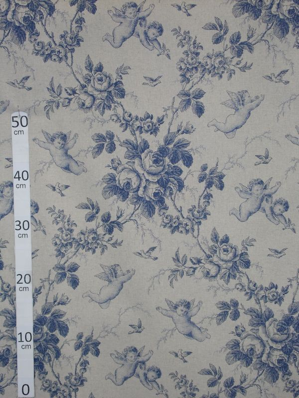 ange de jouy toile de jouy tissu ameublement coton lin bleu a699 3278 le metre. Black Bedroom Furniture Sets. Home Design Ideas