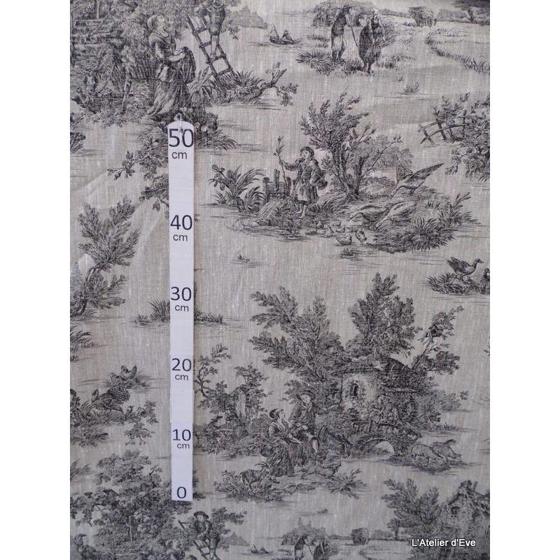 bucolique-tissu-ameublement-toile-de-jouy-noir-fond-lin-l150cm-alex-tissu-a24902-le-metre