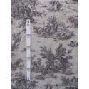 Bucolique Tissu ameublement toile de jouy noir fond lin L.150cm Alex Tissu A249.02 le metre