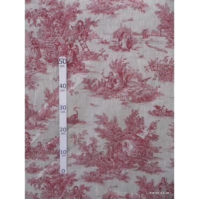 bucolique-tissu-ameublement-toile-de-jouy-rouge-fond-lin