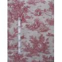 Bucolique 4 coloris Tissu ameublement toile de jouy rouge fond lin L.150cm Alex Tissus A249.01 le metre