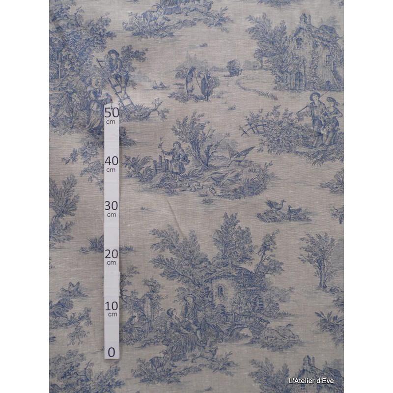 bucolique-tissu-ameublement-toile-de-jouy-bleu-fond-lin-l150cm-alex-tissus-a24904-le-metre