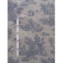 Bucolique Tissu ameublement toile de jouy bleu fond lin L.150cm Alex Tissus A249.04 le metre