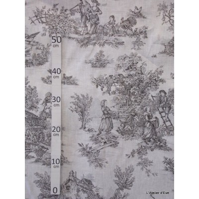 """Bucolic"" canvas of jouy anthracite white background"