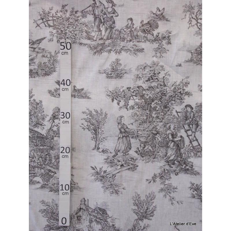 Bucolique Tissu ameublement toile de jouy anthracite fond blanc L.150 Alex Tissus A249.03