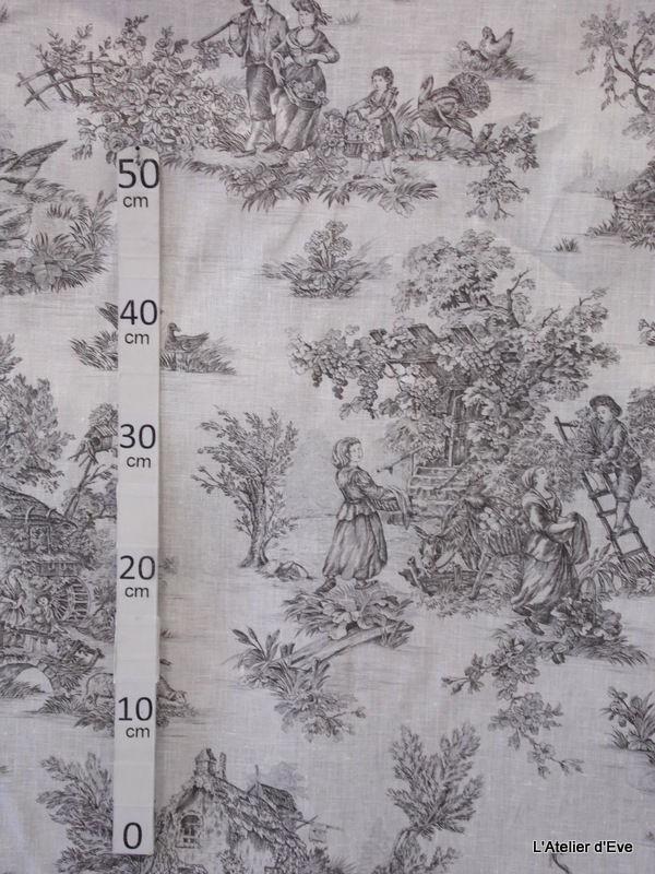 bucolique tissu ameublement toile de jouy anthracite fond blanc alex tissus. Black Bedroom Furniture Sets. Home Design Ideas