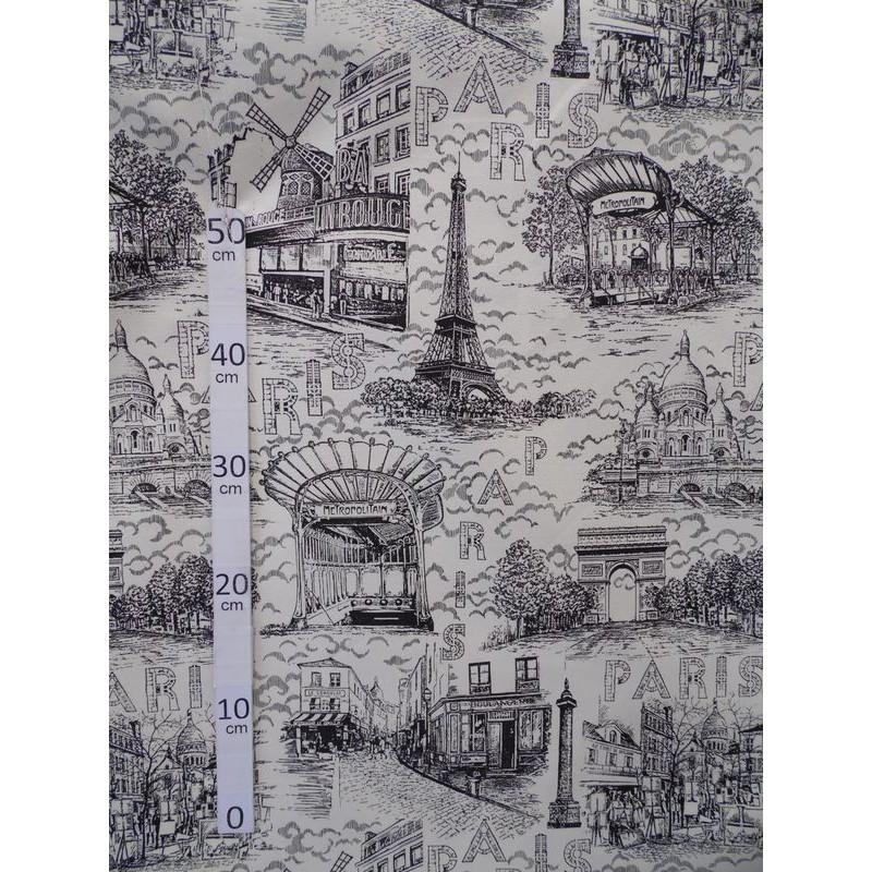 Paris Toile de Jouy monuments Paris Tissu ameublement coton L.280cm Alex tissus A699-3652 le metre