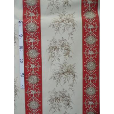 Cupidon Toile de Jouy Tissu ameublement coton bordeaux/ecru/ficelle L.280cm Alex tissus A699-3584