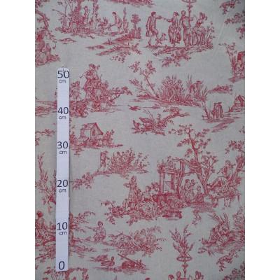 Quatre saisons rouge Toile de Jouy coton/lin Tissu ameublement H.280cm A699-3695 le metre