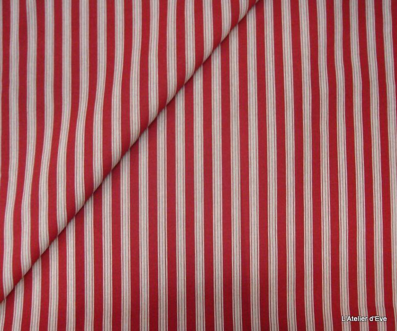 Quatre Saisons Rouge Toile Coton Lin Rayures Tissu