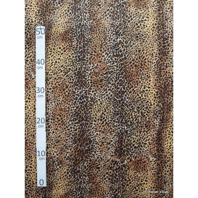 Leopard roux Tissu pour nappe microfibre imitation peau de bete L.148cm Alex tissus A103-33