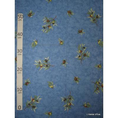 Manosque Tissu ameublement coton provencal L.160cm Alex tissus A164 bleu
