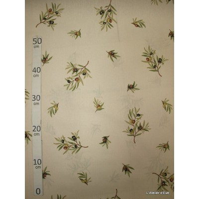 Manosque Tissu ameublement coton provencal L.160cm Alex tissus A164 creme