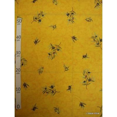Manosque Tissu ameublement coton provencal L.160cm Alex tissus A164 jaune