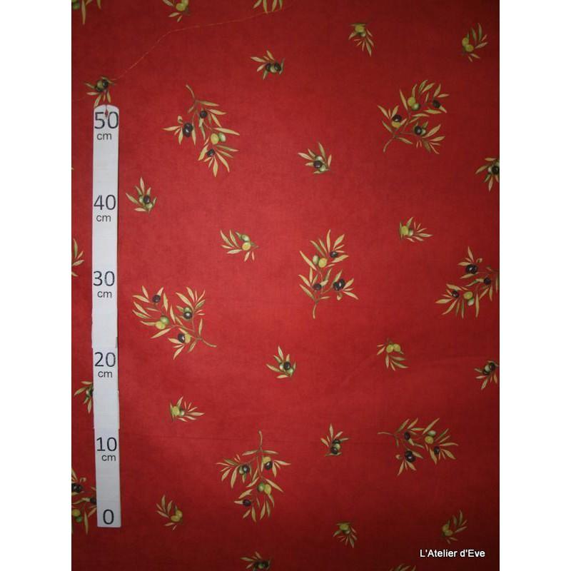 Manosque Tissu ameublement coton provencal L.160cm Alex tissus A164 rouge