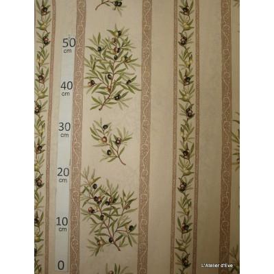 Manosque rayures Tissu ameublement coton provencal L.160cm Alex tissus A165 creme