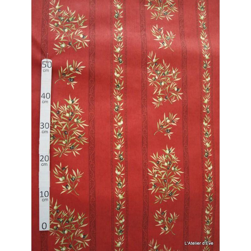 Manosque rayures Tissu ameublement coton provencal L.160cm Alex tissus A165 rouge