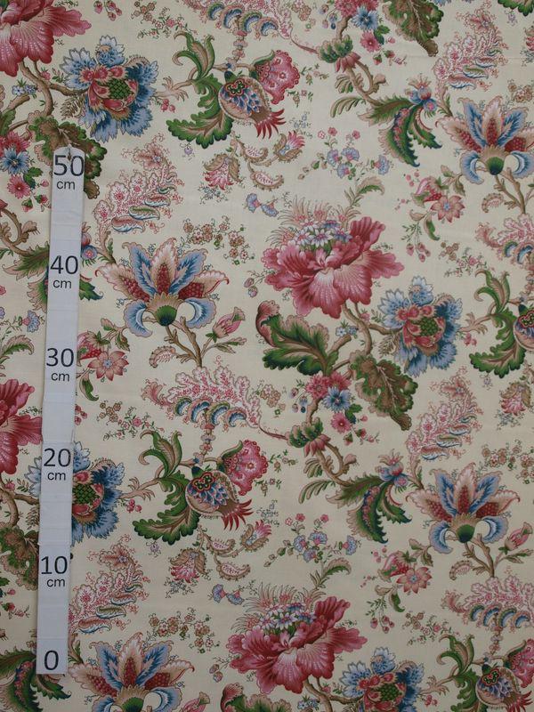 Kobe tissu ameublement toile coton fleuri rose bleu fond ecru alex tissus le metre - Kobe tissu ...