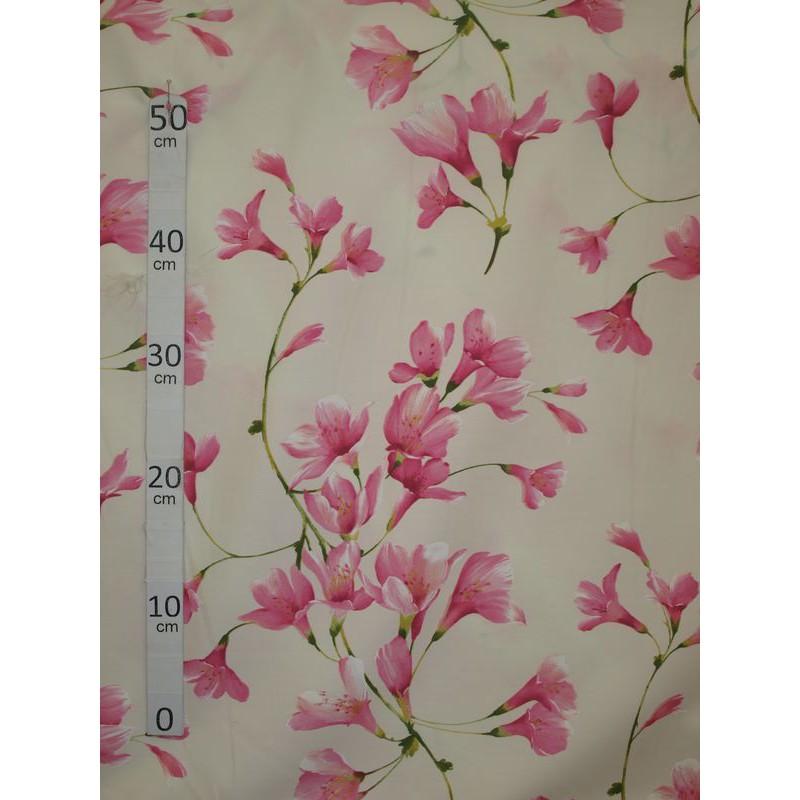 Douceur Tissu ameublement poly-coton fleuri rose fond ecru L.280cm Alex Tissus A699.3777 le metre