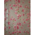 Douceur Tissu ameublement poly-coton fleuri rose fond gris L.280cm Alex Tissus A699.3778 le metre