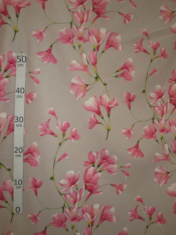 douceur tissu ameublement poly coton fleuri rose fond gris alex tissus le metre. Black Bedroom Furniture Sets. Home Design Ideas