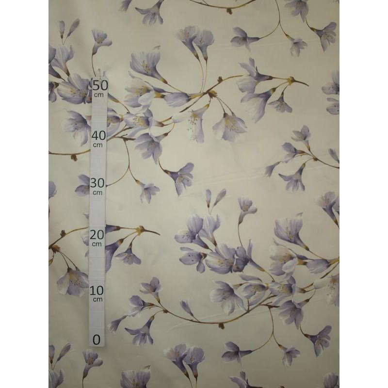 Douceur 3 coloris Tissu ameublement poly-coton fleuri parme fond ecru L.280cm Alex Tissus A699.3779 le metre