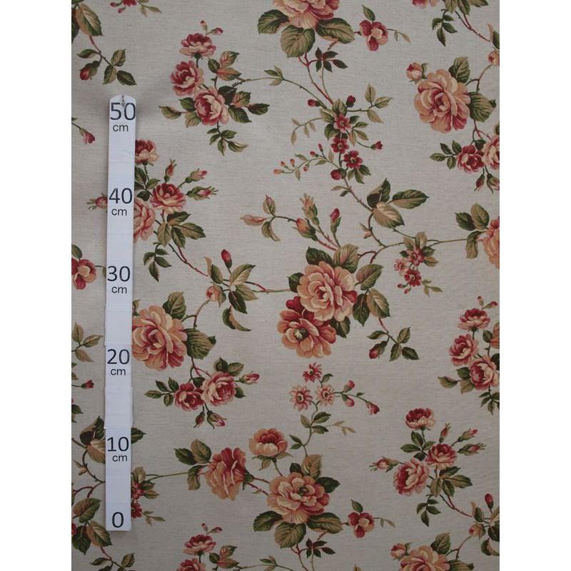Guernesey Tissu ameublement coton lin rose fond lin L.280cm Alex Tissus A560.lin Le metre