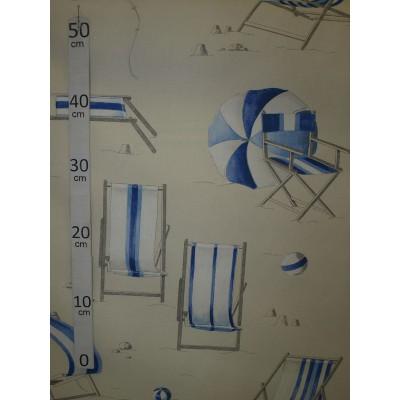 Farniente Tissu ameublement coton bleu L.280cm Alex Tissus A699.3693 le metre