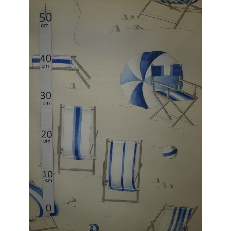 Farniente 2 coloris Tissu ameublement coton bleu L.280cm Alex Tissus A699.3693 le metre