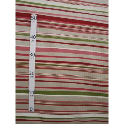 Birmingham Tissu ameublement polycoton rayures rouge/vert par Alex tissu A602.02 le metre