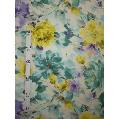 Reunion Tissu ameublement exotique fleuri bleu L.280cm Alex Tissus A699.3792 le metre
