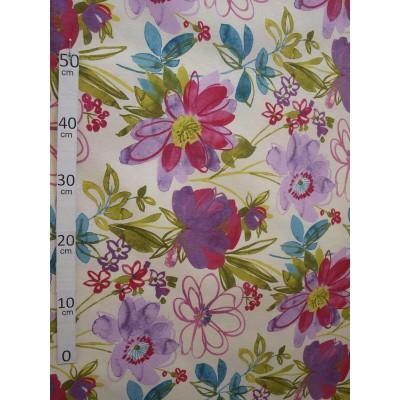 Guadeloupe Tissu ameublement polycoton fleurs exotique L.280cm Alex Tissus A699.3794 le metre