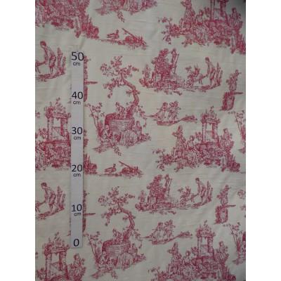 Menestrel Tissu ameublement toile de jouy rouge par Alex tissu A699.3795 le metre