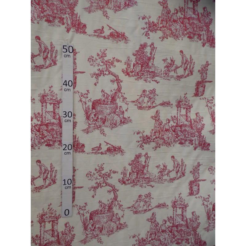menestrel-tissu-ameublement-toile-de-jouy-rouge-par-alex-tissu-a6993795-le-metre