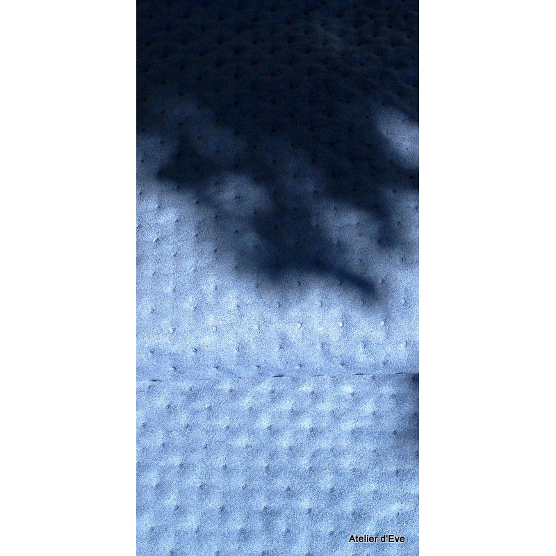 Capiton Tissu ameublement matelasse L.150cm bleu par Alex tissu A305.05 le metre