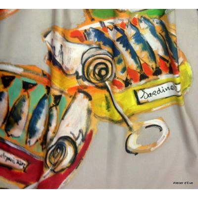 Les Sardines Rideau a oeillets pret a poser coton fond lin Clair Fonce 166622 le rideau