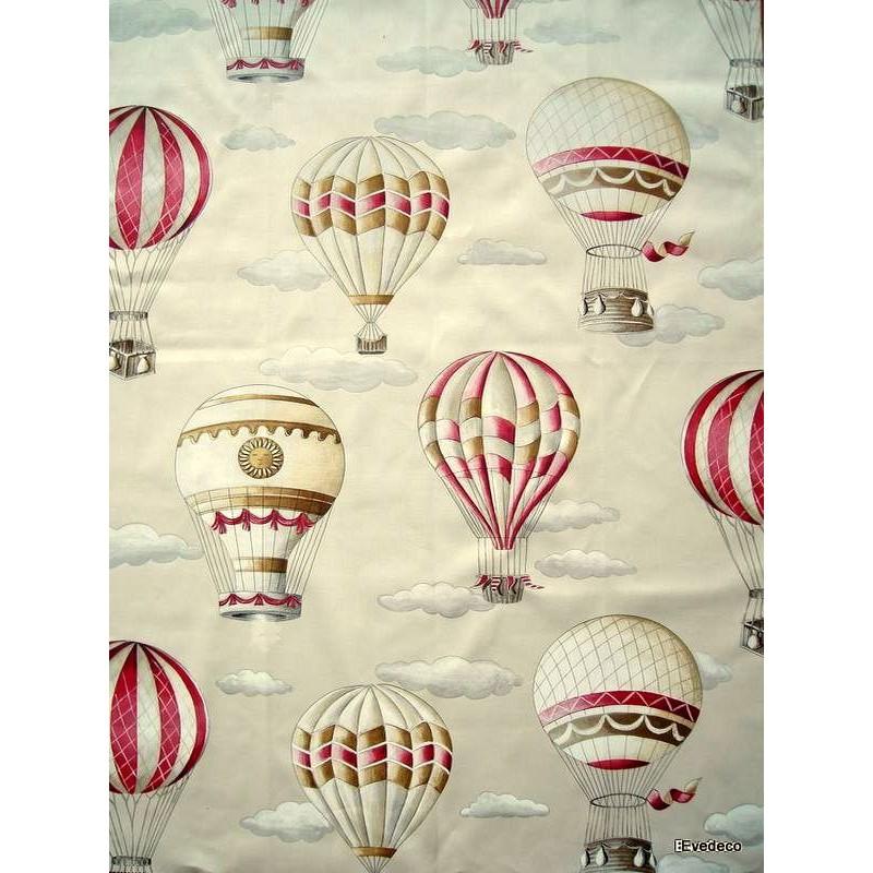 En l air 3 coloris Tissu ameublement coton L.150cm montgolfieres Thevenon 1641601 le metre
