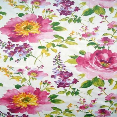 I Love You 3 coloris Tissu ameublement satin de coton Fleurs fond creme L.280cm Thevenon 1639501 le metre