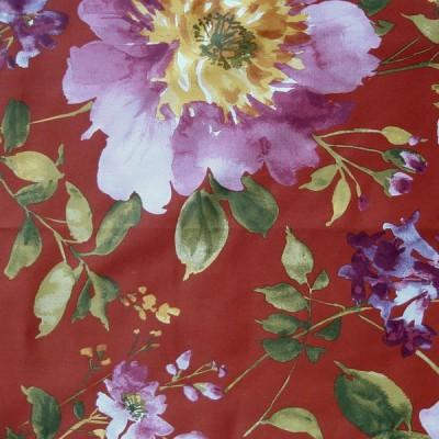 I Love You Tissu ameublement satin de coton Fleurs fond rouge L.280cm Thevenon 1639502 le metre