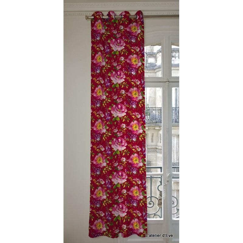 I Love You Rideau a oeillets pret a poser satin coton fond rouge Clair Fonce 1639502 le rideau