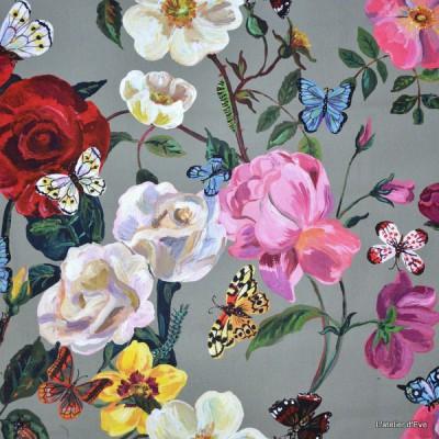 Villa des roses Tissu ameublement percale coton Fleurs fond anthracite L.150cm Thevenon 1644603 le metre