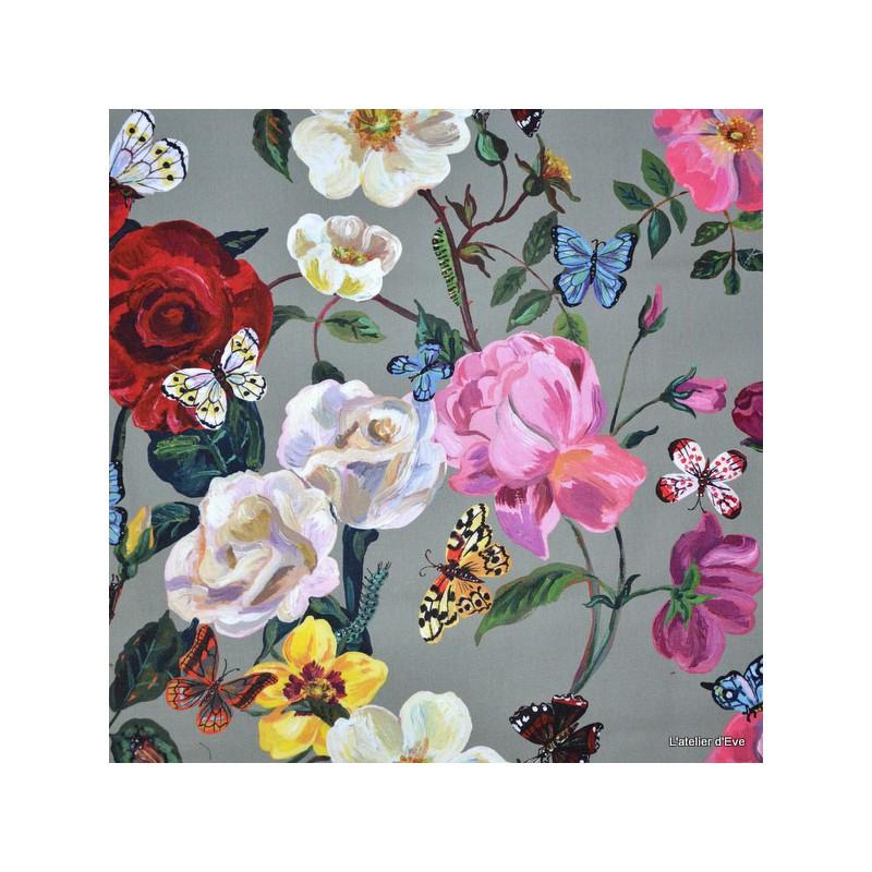 villa-des-roses-tissu-ameublement-percale-coton-fleurs-fond-anthracite-l150cm-thevenon-1644603-le-metre